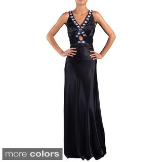 DFI Women's Jewel-trim Keyhole Evening Gown