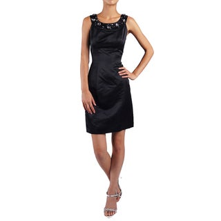 DFI Women's Black Jewel Neckline Evening Gown