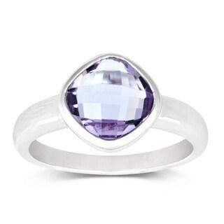 La Preciosa Sterling Silver Cushion-cut Amethyst Gemstone Ring