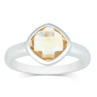 La Preciosa Sterling Silver Citrine Cushion-cut Gemstone Ring