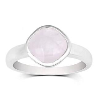 La Preciosa Sterling Silver Faceted Rose Quartz Cushion-cut Gemstone Ring