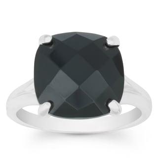 La Preciosa Sterling Silver Faceted Onyx Cushion-cut Gemstone Ring