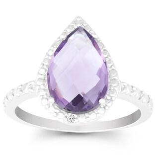 La Preciosa Sterling Silver Faceted Amethyst and Diamond Accent Ring