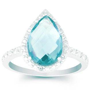 La Preciosa Sterling Silver Faceted Blue Topaz Gemstone and Diamond Accent Ring