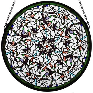 Dragonfly Swirl Medallion Stained Glass Window Panel