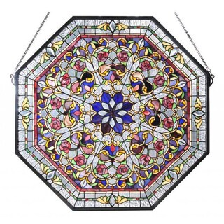 Front Hall Pink Roses Octagonal Stained Glass Window Accent Panel