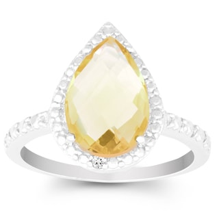La Preciosa Sterling Silver Pear-cut Citrine Diamond Accent Ring