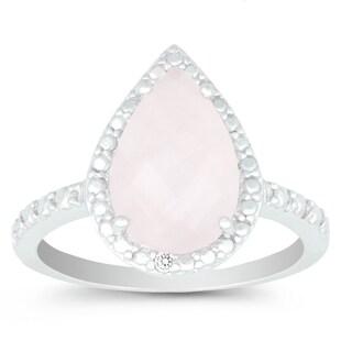 La Preciosa Sterling Silver Pear-cut Rose Quartz and Diamond Accent Ring