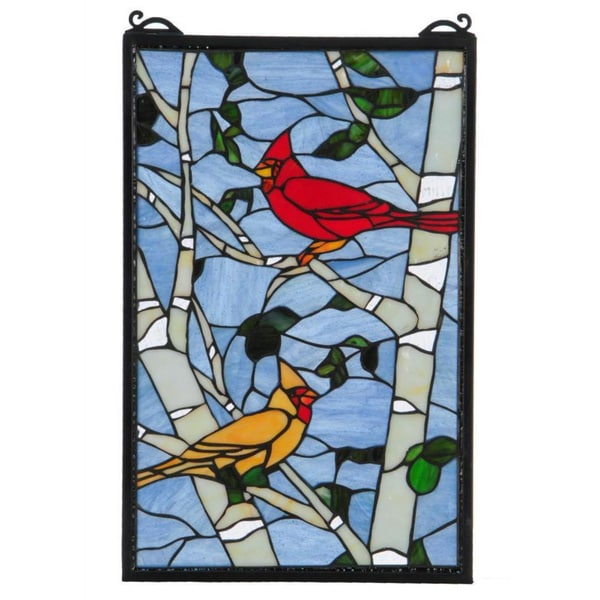 cardinal morning stained glass window panel   free