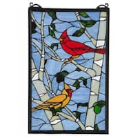 Cardinal Morning Stained Glass Window Panel
