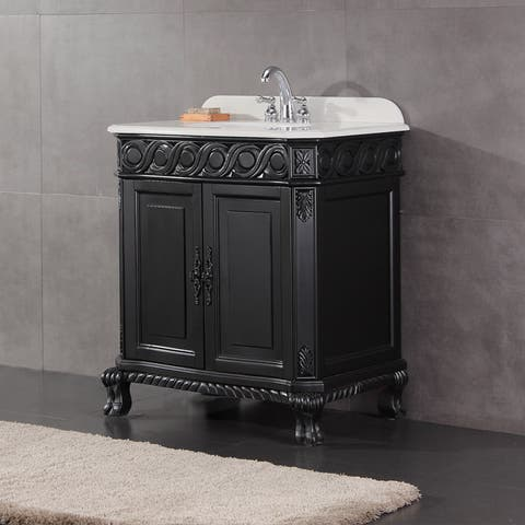 Antique Black Single Sink Bathroom Vanity With Marble Top
