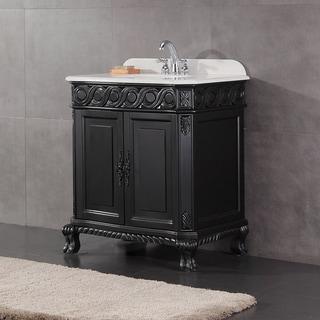 Trent 30 in. Antique Black Single Sink Bathroom Vanity with Marble Top