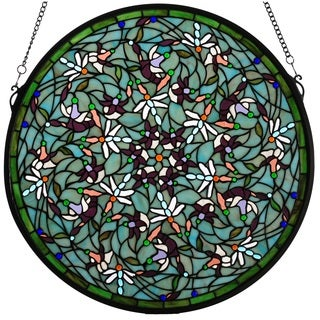 Emerald Dragonfly Swirl Medallion Stained Glass Window Panel