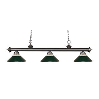 Z-lite 3-light Riviera Olde Bronze Clear Ribbed Glass and Metal Dark Green Billiard Fixture