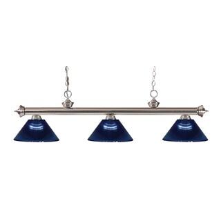 Z-lite 3-light Riviera Brushed Nickel Dark Blue Billiard Fixture