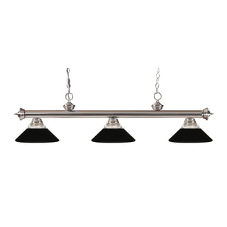 Z-lite 3-light Riviera Brushed Nickel Clear Ribbed Glass and Metal Matte Black Billiard Fixture