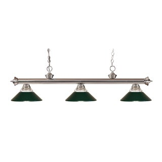 Z-lite 3-light Riviera Brushed Nickel Clear Ribbed Glass and Metal Dark Green Billiard Fixture