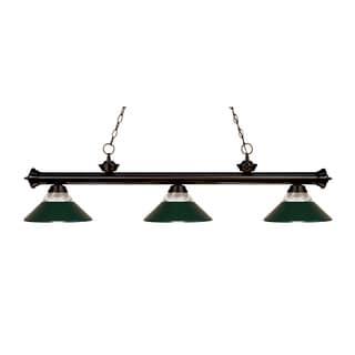 Z-lite 3-light Riviera Bronze Clear Ribbed Glass and Metal Dark Green Billiard Fixture