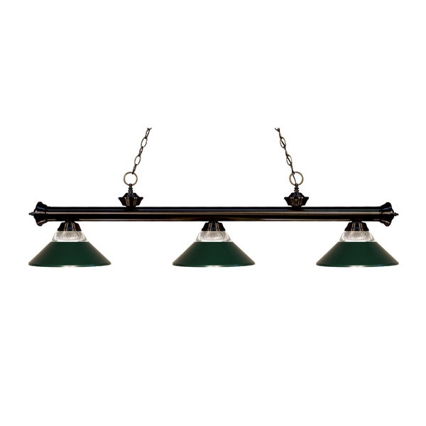 Z-lite 3-light Riviera Bronze Clear Ribbed Glass and Metal Dark Green Billiard Fixture