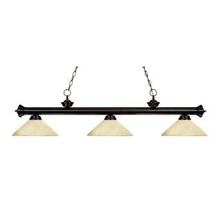 Z-lite 3-light Riviera Bronze Angle Golden Mottle Billiard Fixture