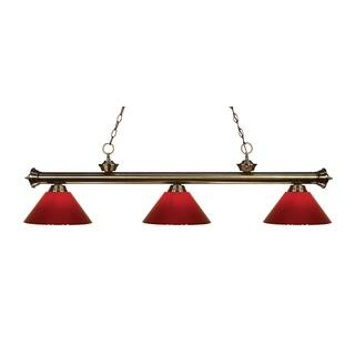 Avery Home Lighting 3 Light Riviera Antique Br Red Billiard Fixture