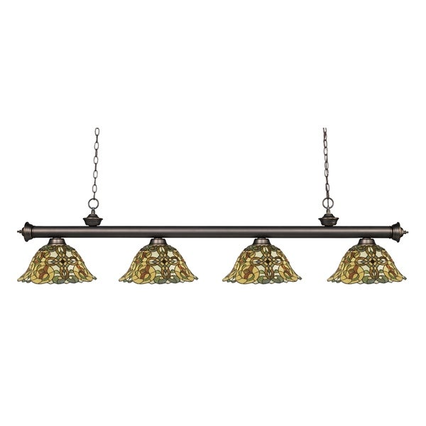 Z-lite Riviera Olde Bronze and Tiffany-style Glass 4-light Billiard Fixture