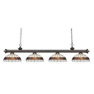 Z-lite Riviera Olde Bronze and Tiffany Glass 4-light Billard Fixture