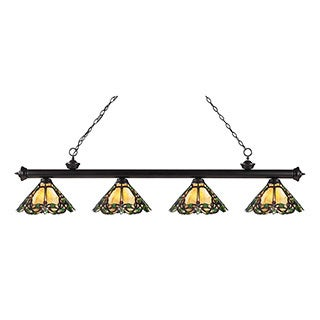 Z-lite 4-light Riviera Bronze Multi Colored Tiffany Billiard Fixture