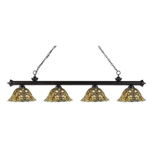 Z-lite 4-light Riviera Bronze Multi Colored Tiffany-style Billiard Fixture
