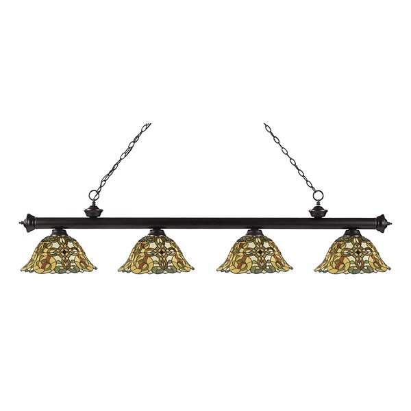 Avery Home Lighting 4-light Riviera Bronze Multi Colored Tiffany-style Billiard Fixture