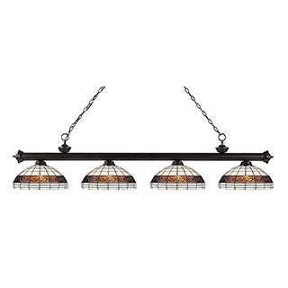 Z-lite Riviera Tiffany Glass and Bronze 4-light Bar Fixture