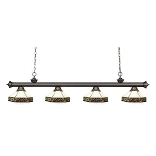 Z-lite Riviera Olde Bronze and Tiffany Glass 4-light Billiard Fixture