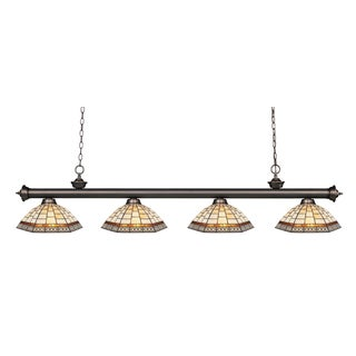 Z-lite Riviera Olde Bronze and Tiffany Glass 4-light Bar Fixture