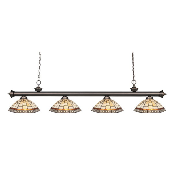 Z-lite Riviera Olde Bronze and Tiffany-style Glass 4-light Bar Fixture