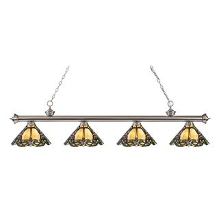 Z-lite Riviera Brushed Nickel and Tiffany Glass 4-light Billard Fixture