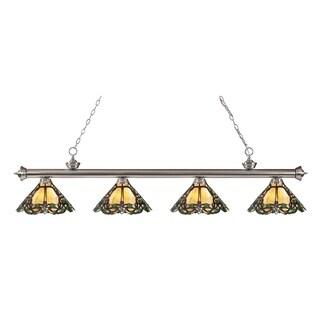 Z-lite Riviera Brushed Nickel and Tiffany-style Glass 4-light Billard Fixture
