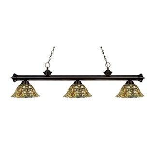 Z-lite 3-light Riviera Bronze Multi Colored Tiffany-style Billiard Fixture