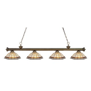 Avery Home Lighting Riviera Antique Brass and Tiffany-style Glass 4-light Billard Fixture - Multi-color