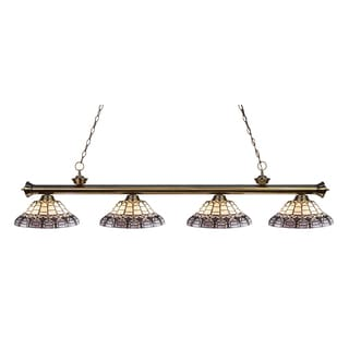 Z-lite Riviera Antique Brass and Tiffany Glass 4-light Billard Fixture