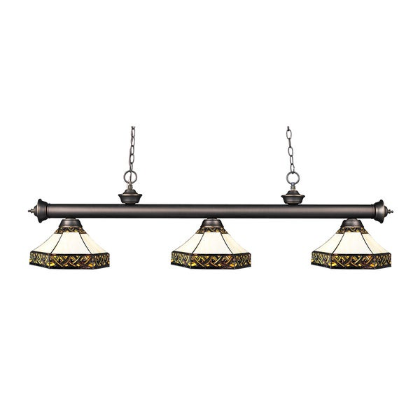 Z-lite Riviera Olde Bronze and Tiffany-style Glass 3-light Billard Fixture
