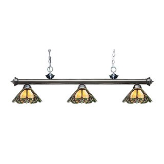 Z-lite Riviera Gunmetal and Tiffany-style Glass 3-light Billard Fixture