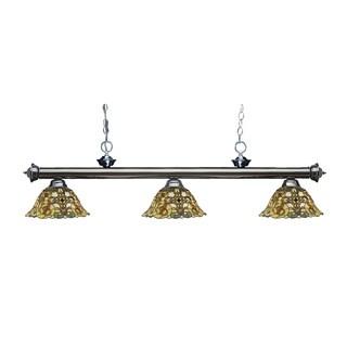 Z-lite Riviera Gunmetal and Tiffany Glass 3-light Billard Fixture
