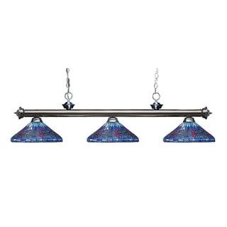 Z-lite Riviera Gunmetal and Tiffany-style Glass 3-light Billard Fixture