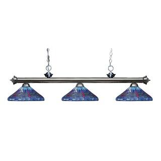 Avery Home Lighting Riviera Gunmetal and Tiffany-style Glass 3-light Billard Fixture