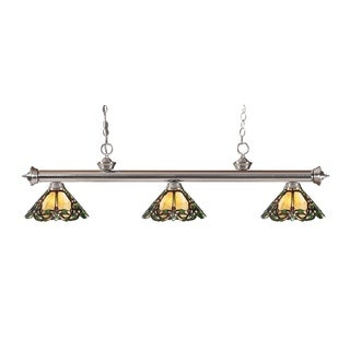 Avery Home Lighting 3-light Riviera Brushed Nickel Multi Colored Tiffany-style Billiard Fixture