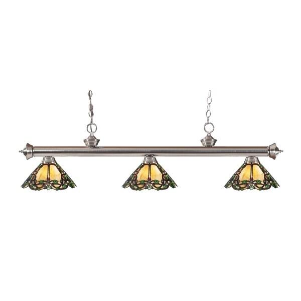 Avery Home Lighting 3-light Riviera Brushed Nickel Multi Colored Tiffany-style Billiard Fixture