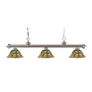 Z-lite 3-light Riviera Brushed Nickel Multi Colored Tiffany-style Billiard Fixture