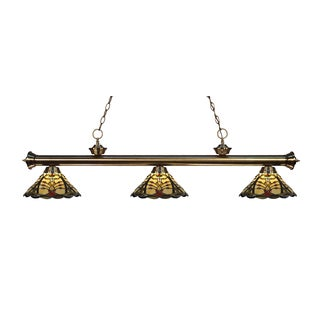Z-lite 3-light Riviera Antique Brass Multi Colored Tiffany-style Billiard Fixture