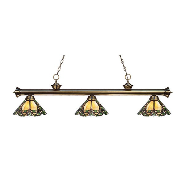 Avery Home Lighting 3-light Riviera Antique Brass Multi Colored Tiffany-style Billiard Fixture