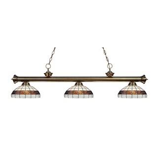 Z-lite 3-light Riviera Antique Brass Multi Colored Tiffany-style Billiard Fixture